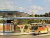 Der Busbahnhof Halle (Saale) ist aus jedem Blickwinkel ein echter Hingucker – von Kibri in H0.
